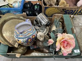 Two boxes of ceramics, glassware and sundries