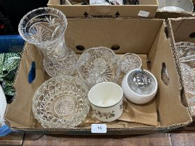 Two boxes of cut and other glassware