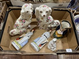 A box of Staffordshire and Staffordshire style ceramics