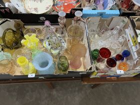 Two boxes of coloured and clear glassware