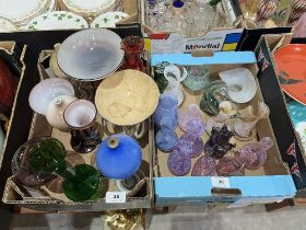Two boxes of glassware
