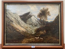 19th CENTURY SCHOOL A mountain landscape. Oil on lined canvas. 19½' x 26¾'