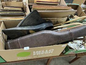 A leg o'mutton gun case, walking sticks etc.