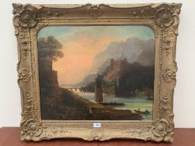 CONTINENTAL SCHOOL. 18TH CENTURY River landscape with castle figures and boats. Oil on lined