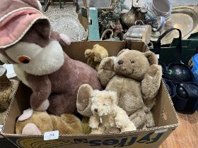 A Merrythough rabbit and other soft toys