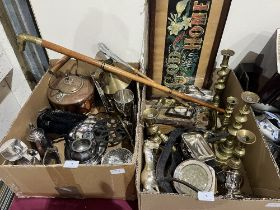 Two boxes of metalware