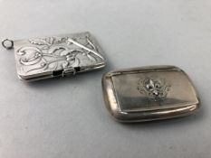 A 19TH CENTURY SILVER PILL BOX AND A SILVER MATCH HOLDER