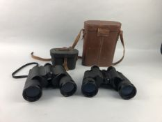 A LOT OF TWO PAIR OF BINOCULARS AND TWO RELATED CASES