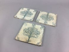 A SET OF THREE MINTONS SQUARE TILES AND TWO ROYAL WORCESTER PLAQUES