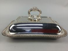 A SILVER PLATED CRUET SET IN FITTED CASE AND OTHER PLATE