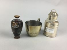 A CHINESE CLOISONNE VASE ALONG WITH TWO CREAMERS