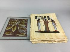 A GRADUATED SET OF THREE LACQUERED SQUARE TRAYS, PICTURES AND A PANEL