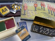 A BAKELITE PLAYING CARD DISPENSER, GAMES AND CAR BADGES