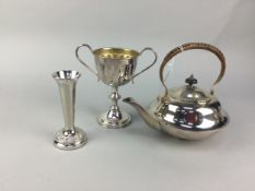 AN EARLY 20TH CENTURY SILVER PLATED KETTLE ON STAND AND OTHER PLATE