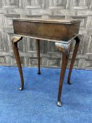 A MAHOGANY SEWING TABLE AND THREE OTHER ITEMS
