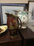 A CARLTON WARE ROUGE ROYALE JUG ALONG WITH OTHER CERAMICS