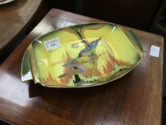 A LOT OF TWO CARLTON WARE BIRDS OF PARADISE COMPORTS AND A TEMPLE JAR