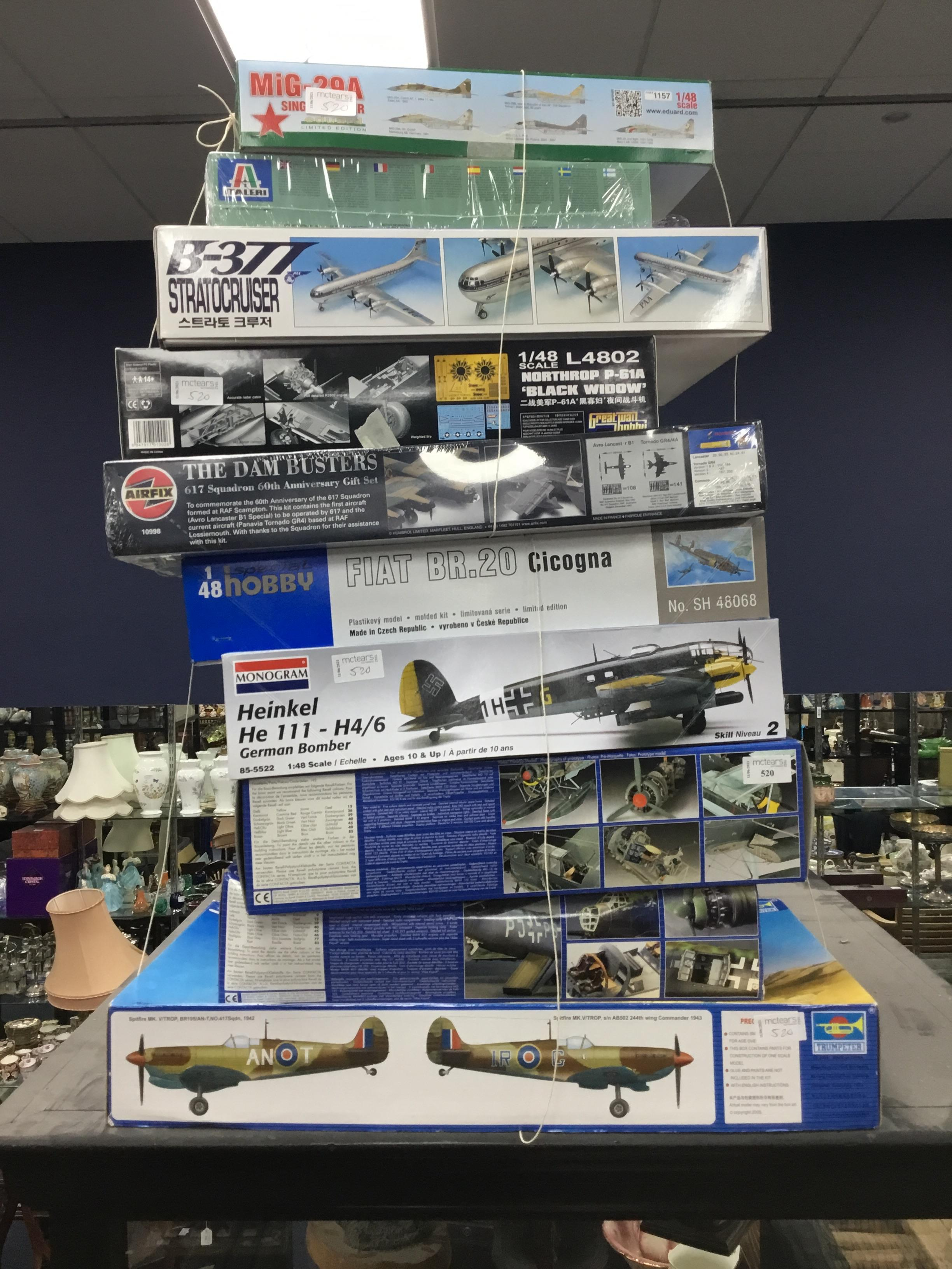 A COLLECTION OF TEN AIRFIX, EDUARD, TRUMPETER, REVELL AND OTHER AIRCRAFT MODELS