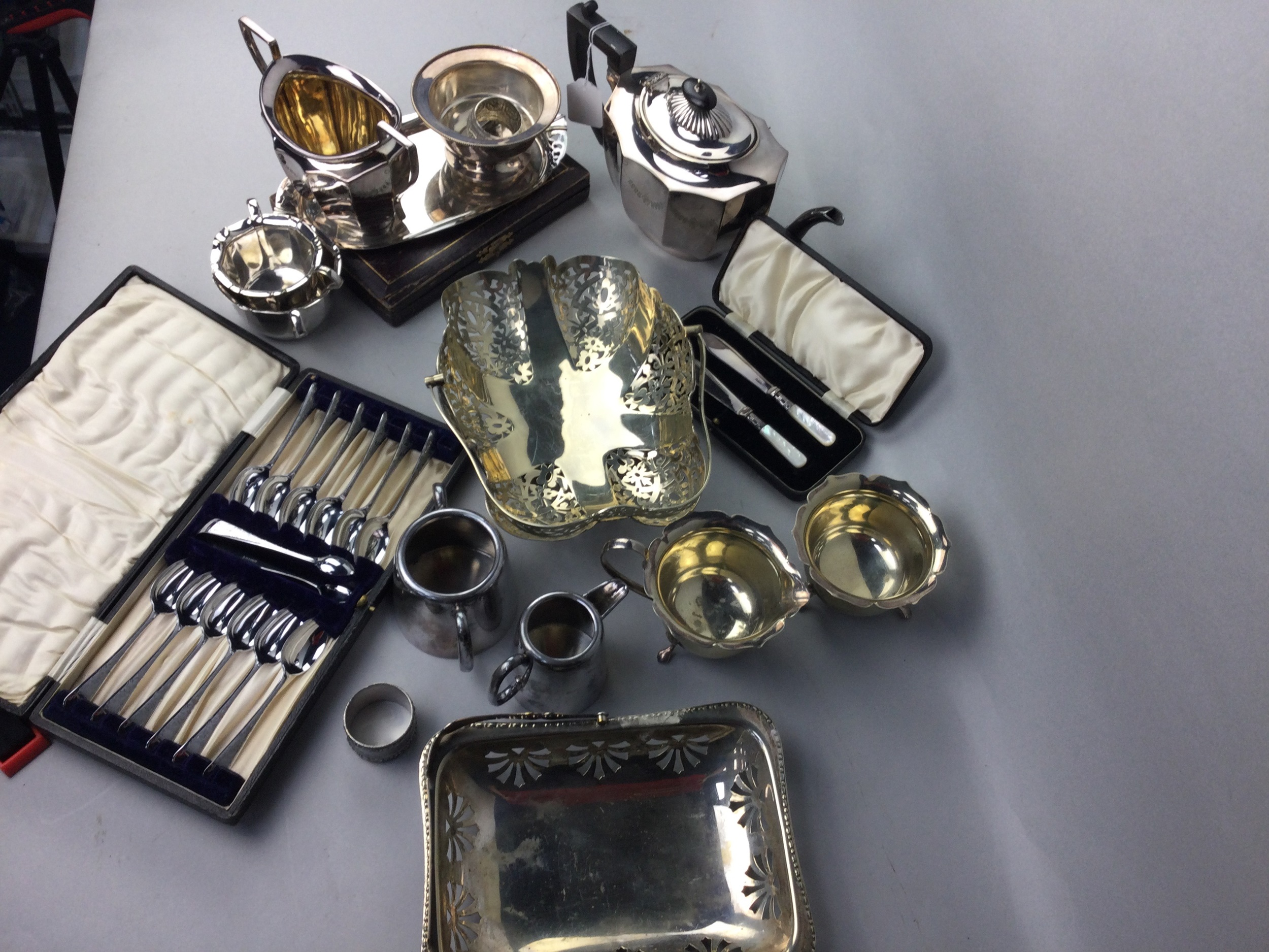 A LOT OF SILVER PLATED WARES