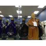 A LOT OF FIVE DIMPLE DECANTERS, ALONG WITH OTHER WHISKY COLLECTABLES