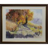 AUTUMN TRAIL, A WATERCOLOUR BY JAMES FORRESTER