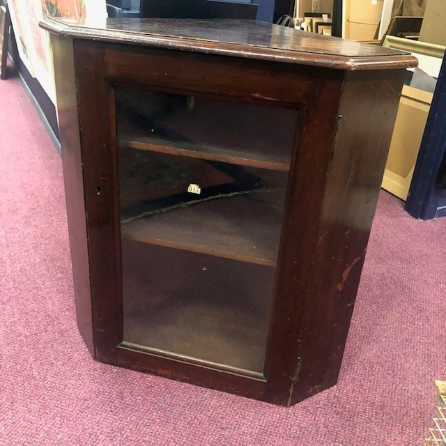 A VICTORIAN STAINED WOOD CORNER CABINET