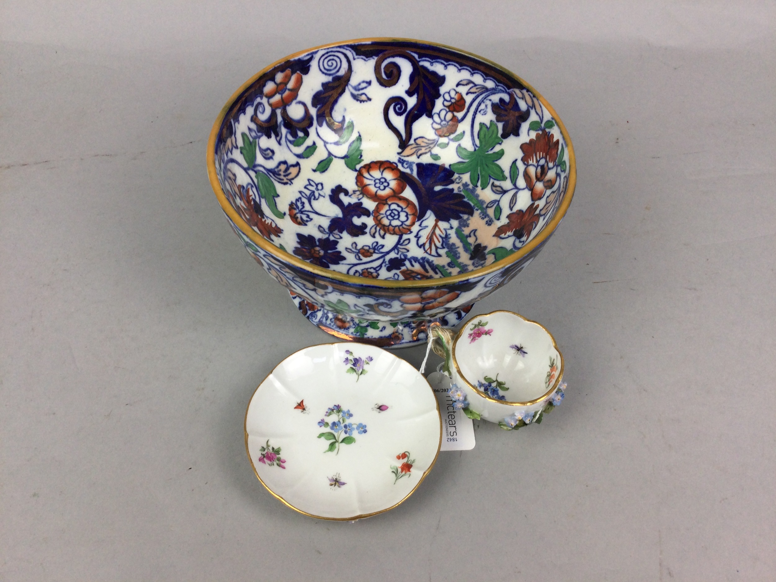 A 19TH CENTURY MEISSEN CUP AND SAUCER AND AN AMHERST BOWL