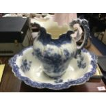 A VICTORIAN BLUE AND WHITE WASH BASIN AND EWER