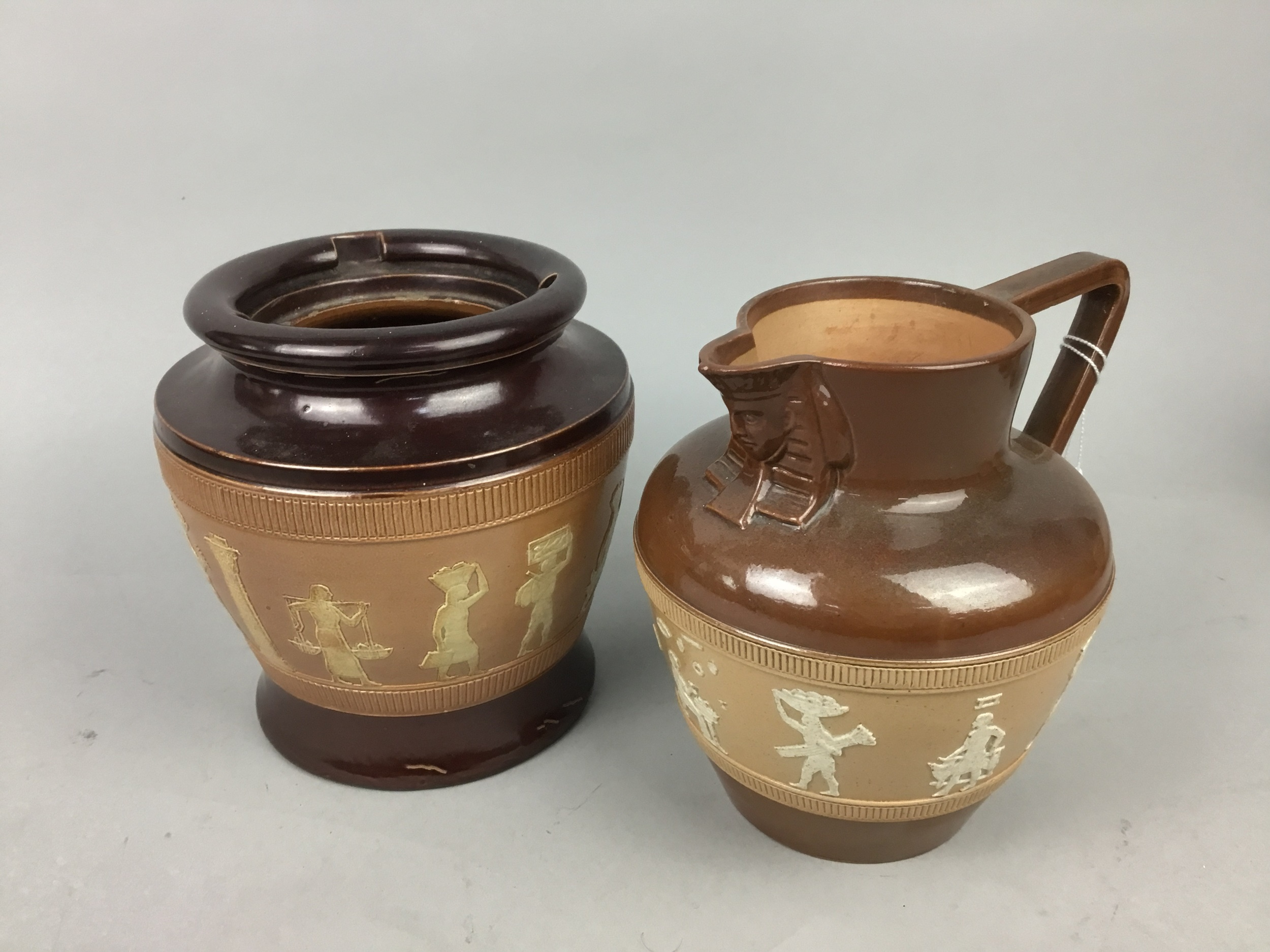 A ROYAL DOULTON EGYPTIAN REVIVAL JUG AND OTHER ITEMS