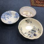 A LOT OF VARIOUS CERAMIC BASINS AND TWO DECORATIVE BOWLS