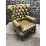 A PAIR OF BROWN LEATHER WINGBACK ARMCHAIRS