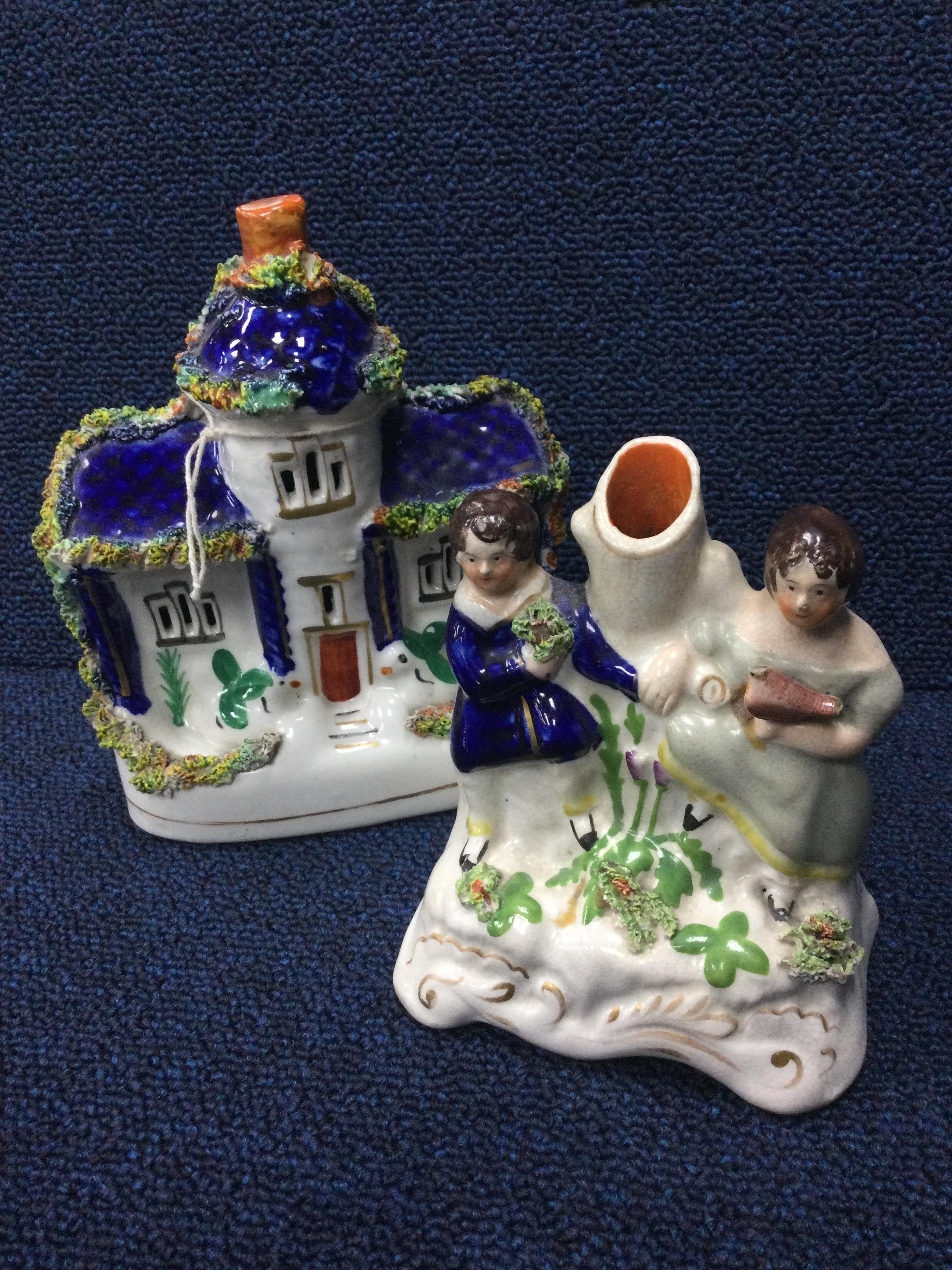 A LOT OF THREE VCTORIAN STAFFORDSHIRE BUILDINGS, A VASE AND ANOTHER BUILDING - Image 2 of 2