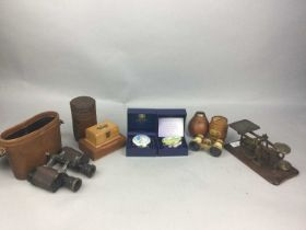 A PAIR OF CARL ZEISS JENA TELACT BINOCULARS AND OTHER ITEMS