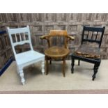 A BENTWOOD BUSINESS ELBOW CHAIR AND TWO OTHER CHAIRS