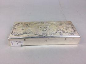 AN EDWARDIAN SILVER WRITING BOX
