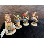 A LOT OF FOUR HUMMEL FIGURES OF CHILDREN AND TWO OTHERS
