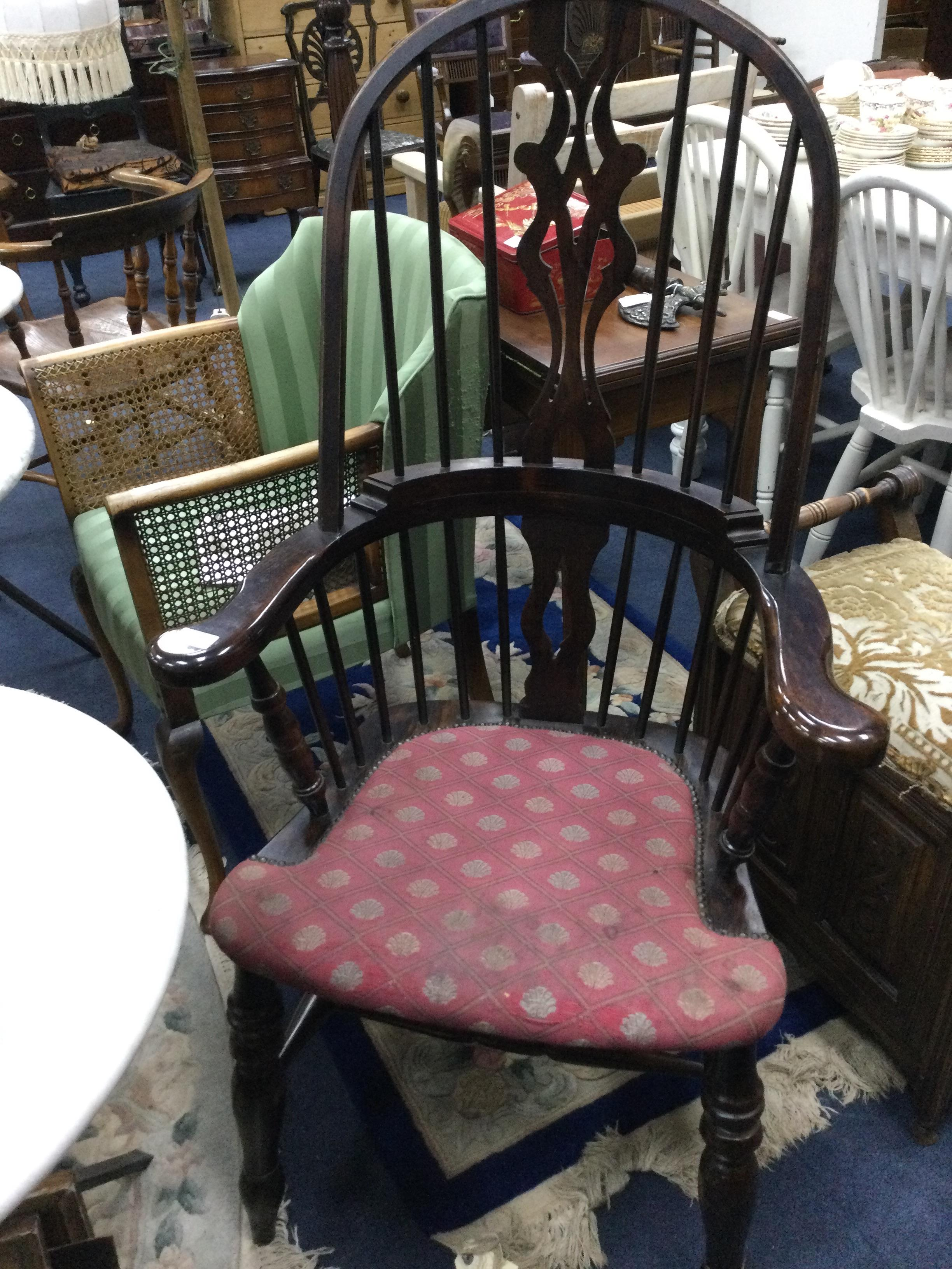A REPRODUCTION HIGH BACK WINDSOR CHAIR