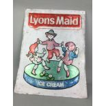 A VINTAGE 'LYONS MAID ICE CREAM' METAL ADVERTISEMENT SIGN