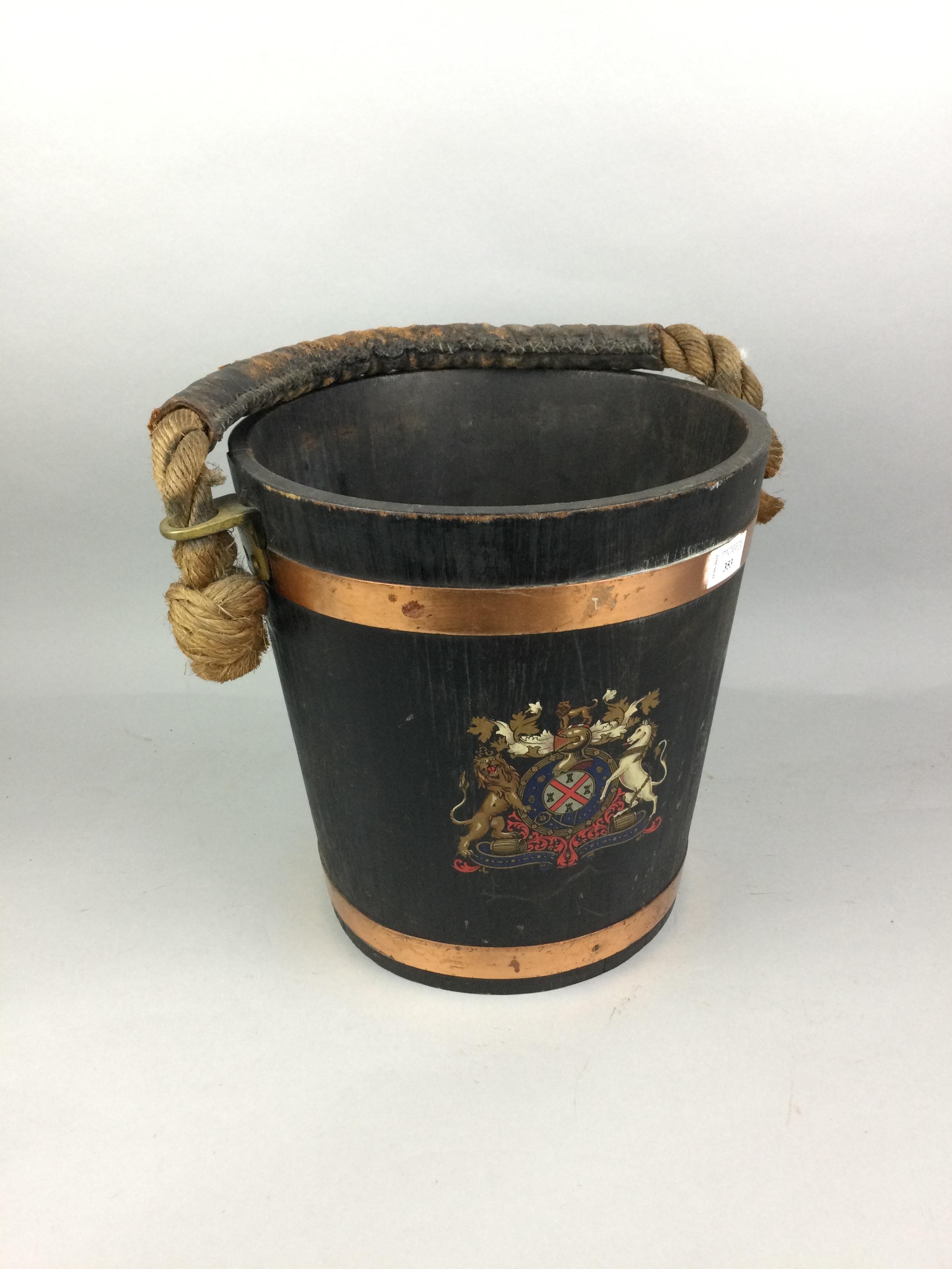A COPPER BOUND OAK FIRE BUCKET