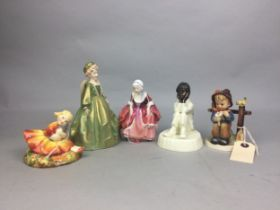 A ROYAL DOULTON FIGURE OF GOODY TWO SHOES AND TWO OTHER FIGURES