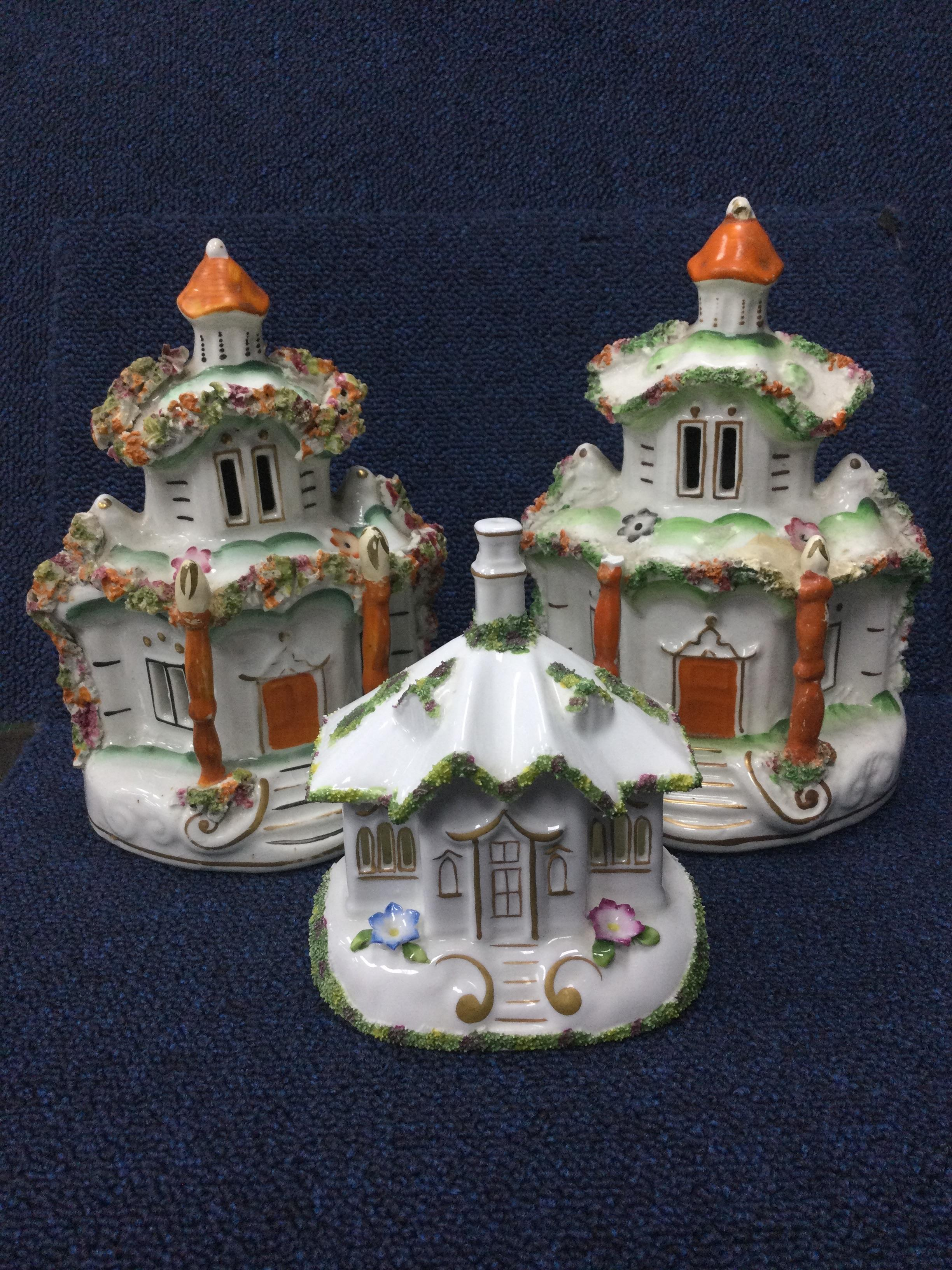 A LOT OF THREE VCTORIAN STAFFORDSHIRE BUILDINGS, A VASE AND ANOTHER BUILDING