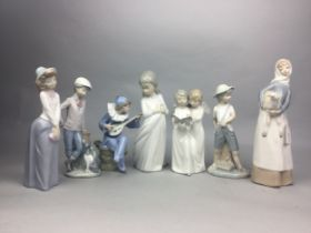 A LLADRO FIGURE OF A GIRL WITH A LAMB AND FIVE OTHER FIGURES