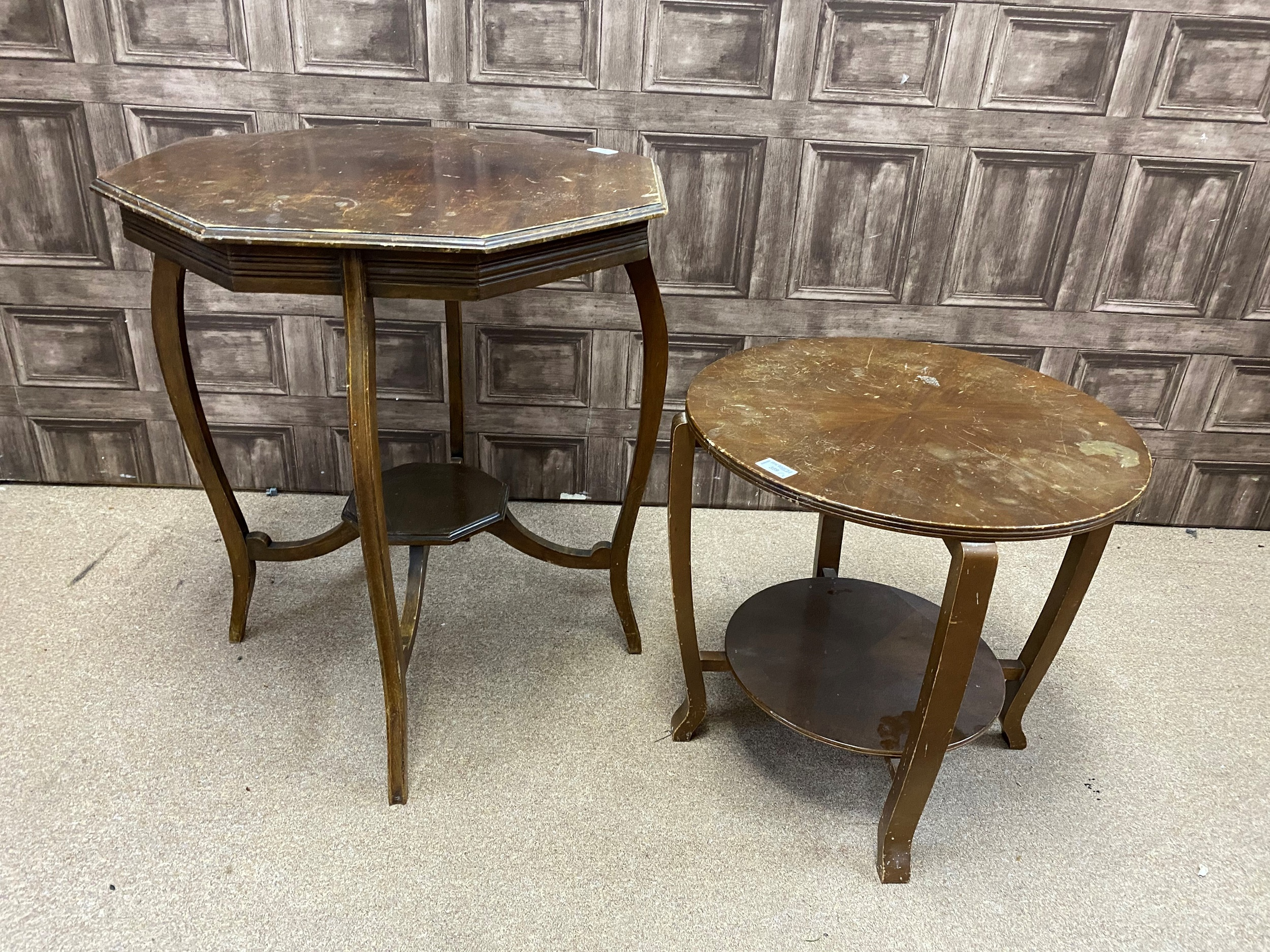 A MAHOGANY OCTAGONAL OCCASIONAL TABLE AND A TWO TIER OCCASIONAL TABLE