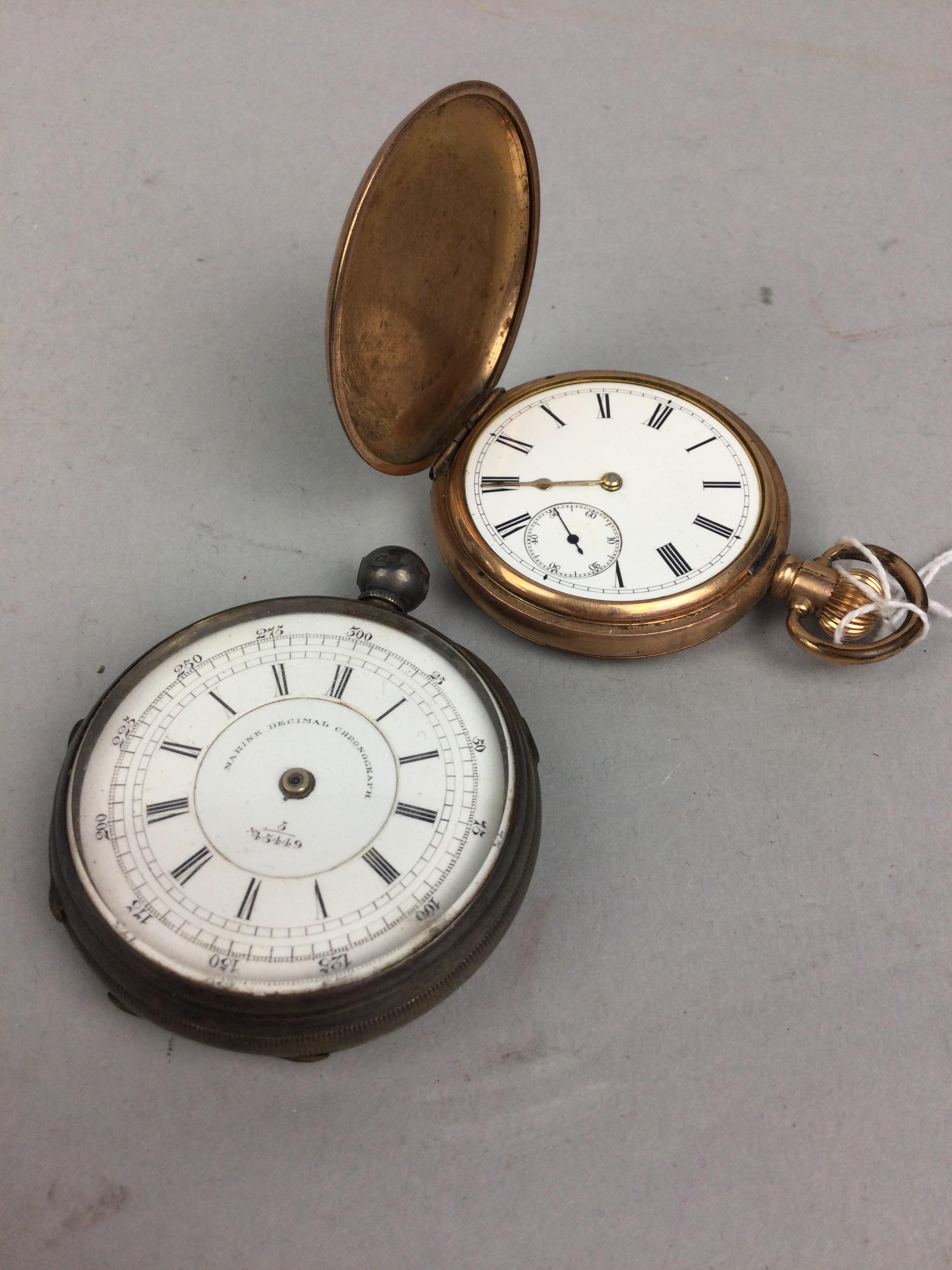 A SILVER POCKET WATCH AND A GOLD PLATED POCKET WATCH