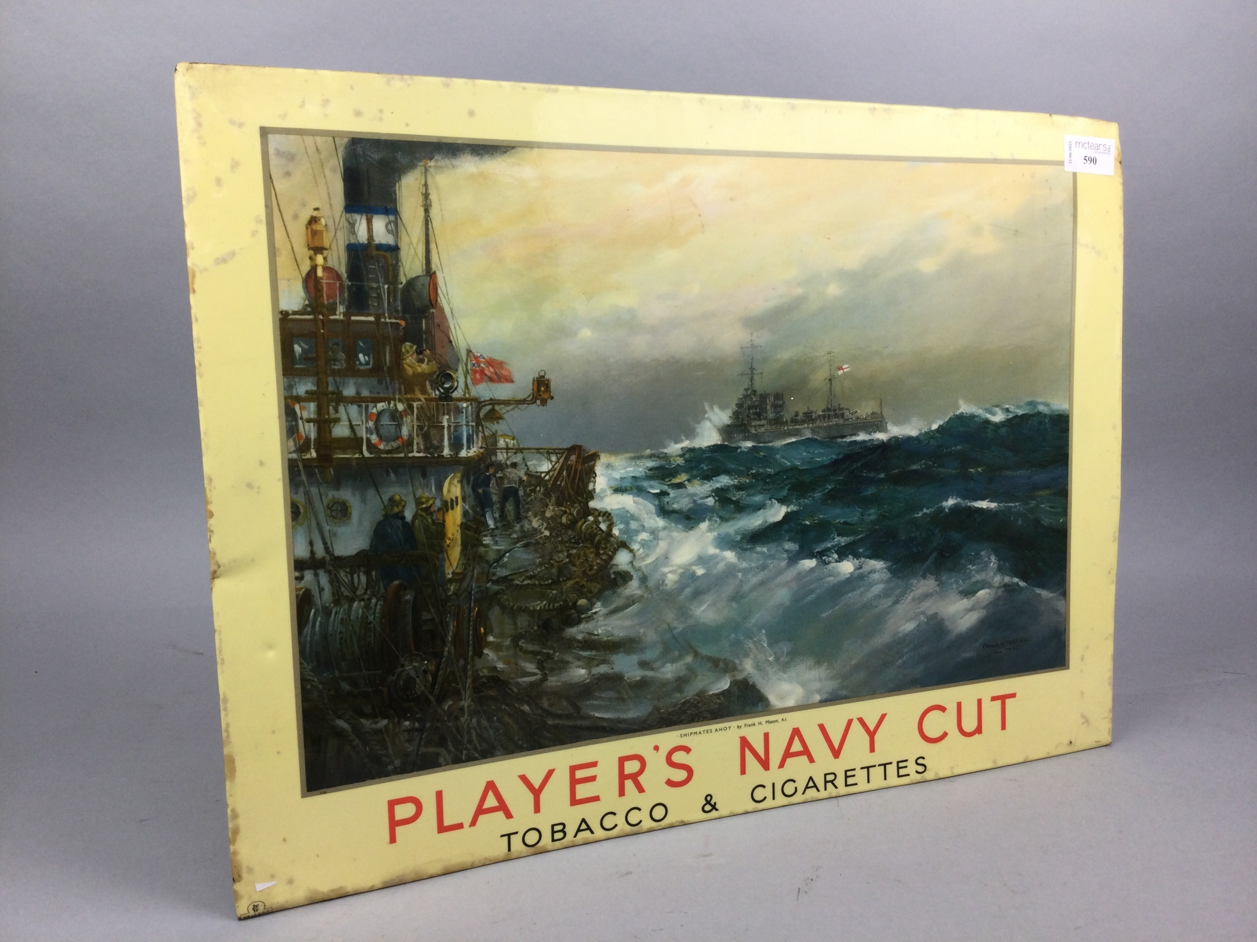 A PLAYERS NAVY CUT ADVERTISING SIGN, ALONG WITH TWO PEACOCKS