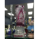A BOHEMIAN CRANBERRY FLASHED GLASS VASE AND OTHER COLOURED GLASS