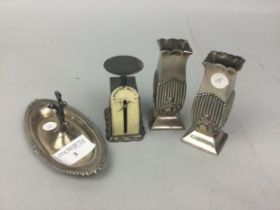 A SET OF SILVER MINIATURE POSTAL SCALES AND OTHER ITEMS