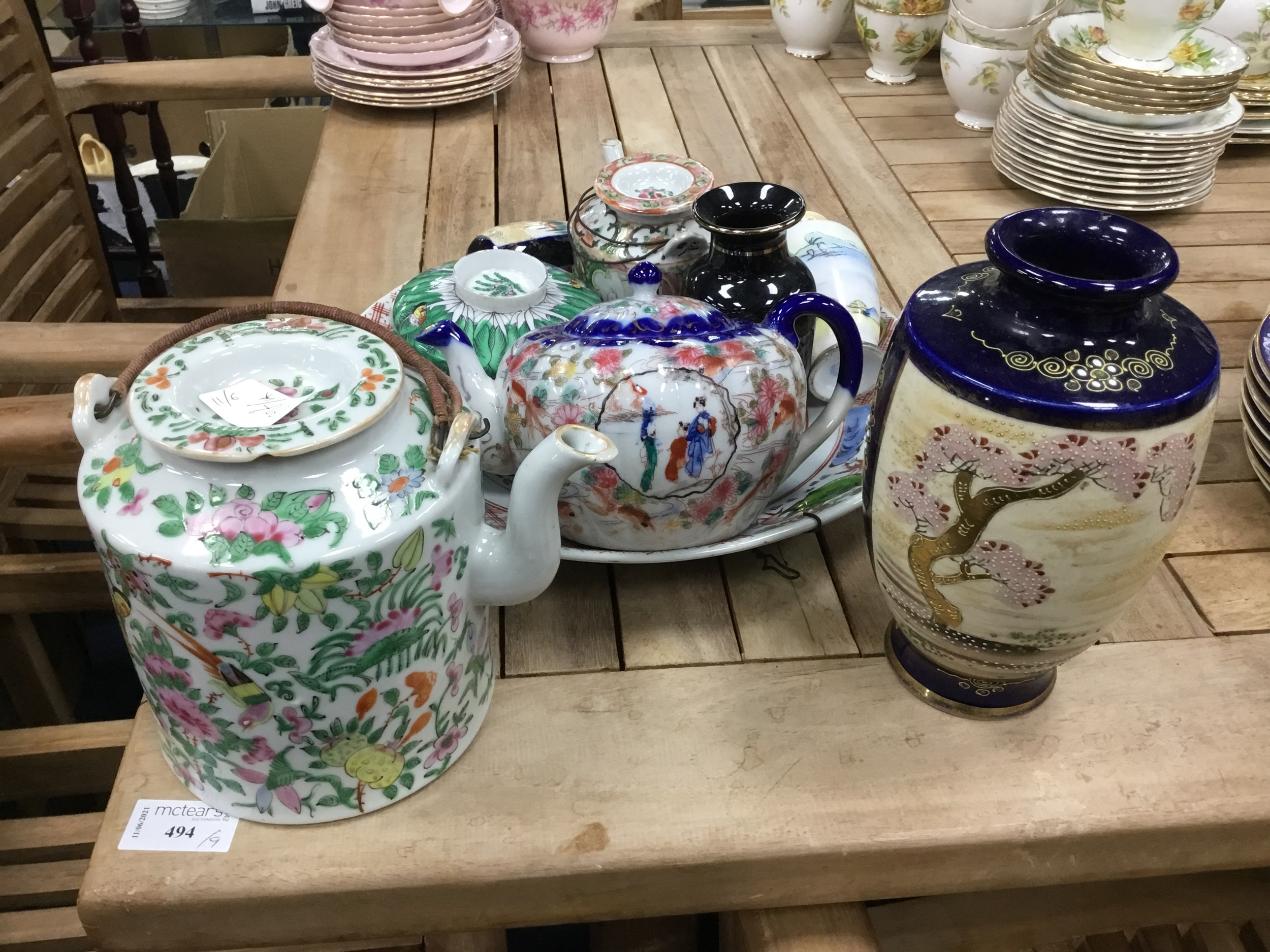 A CHINESE FAMILLE ROSE TEA POT, ALONG WITH OTHER CHINESE CERAMICS