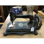 A VICTORIAN ORIGINAL 'PRINCESS' ORNATE HAND SEWING MACHINE AND FISHING ITEMS