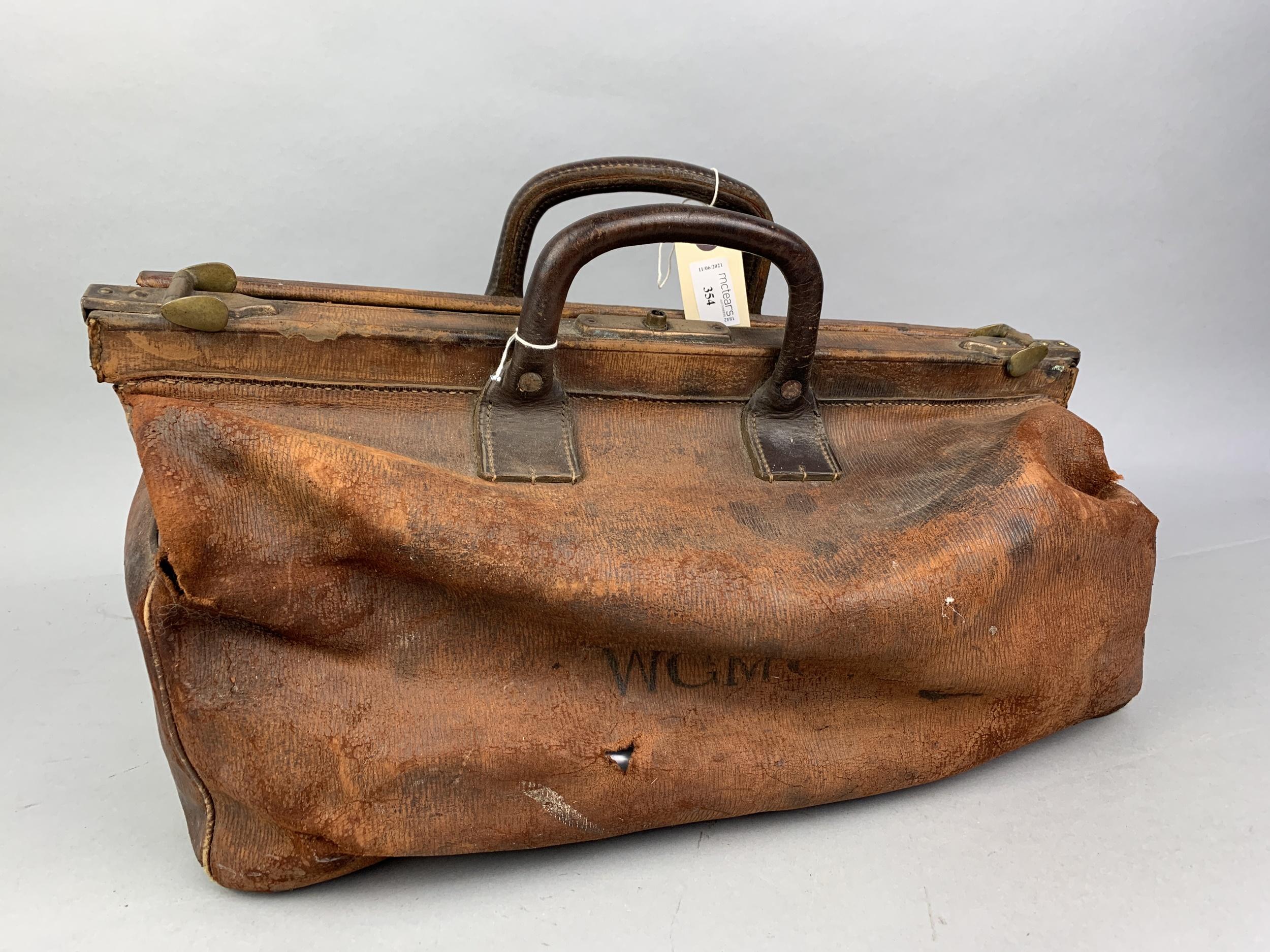 A LEATHER GLADSTONE BAG